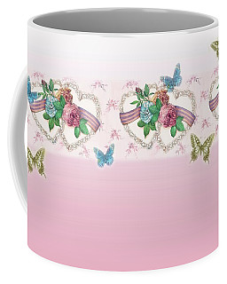 Painted Roses With Hearts Coffee Mug