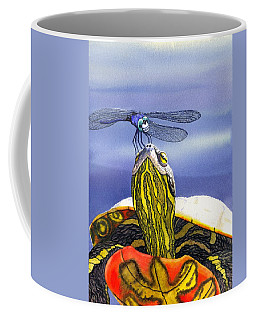 Painted Turtle And Dragonfly Coffee Mug