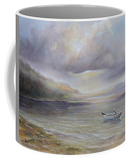 Beach By Sruce Run Lake In New Jersey At Sunrise With A Boat Coffee Mug