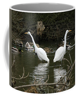 Coffee Mug featuring the photograph Pair Of Egrets by George Randy Bass