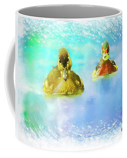 Pair Of Wood Ducks Swimming Toward Camera. Coffee Mug