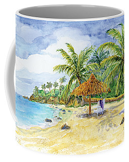 Palappa N Adirondack Chairs On A Caribbean Beach Coffee Mug
