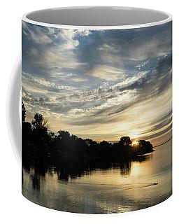 Pale Gold Sunrays - A Cloudy Sunrise With Two Ducks Coffee Mug