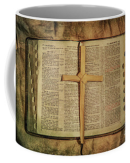 Coffee Mug featuring the digital art Palm Branch Cross And Bible by Randy Steele