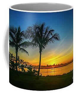 Palm Tree And Boat Sunrise Coffee Mug