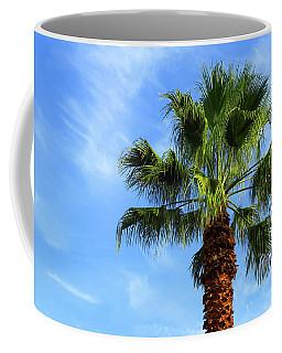 Palm Tree, Blue Sky, Wispy Clouds Coffee Mug