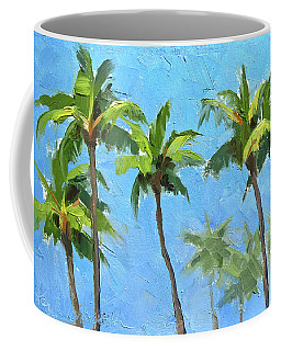 Coffee Mug featuring the painting Palm Tree Plein Air Painting by Karen Whitworth