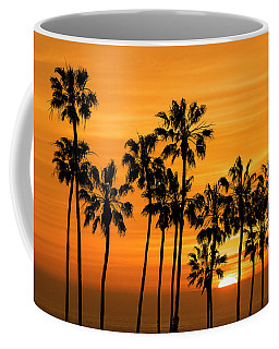 Coffee Mug featuring the photograph Palm Trees At Sunset By Cabrillo Beach by Randall Nyhof
