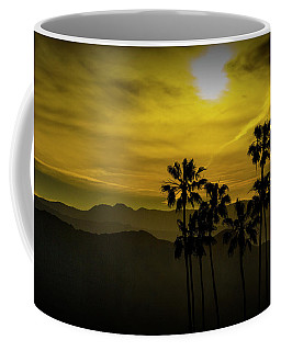 Coffee Mug featuring the photograph Palm Trees At Sunset With Mountains In California by Randall Nyhof
