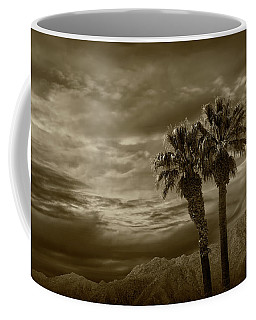Coffee Mug featuring the photograph Palm Trees By Borrego Springs In Sepia Tone by Randall Nyhof