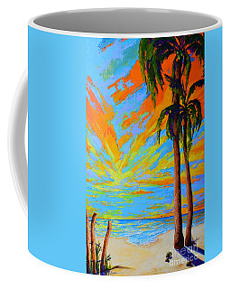 Coffee Mug featuring the painting Florida Palm Trees, Tropical Beach, Colorful Sunset Painting by Patricia Awapara