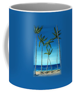 Palm Trees On Blue Coffee Mug by Anastasiya Malakhova