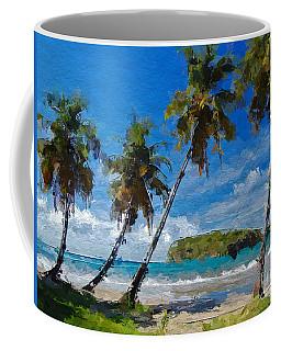 Palm Trees On Sandy Beach Coffee Mug by Anthony Fishburne