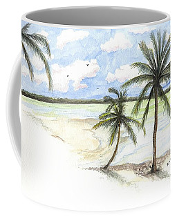 Coffee Mug featuring the painting Palm Trees On The Beach by Darren Cannell
