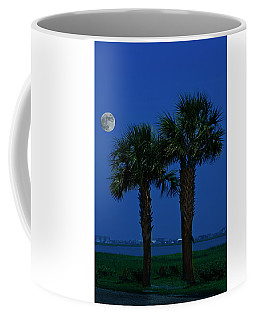 Coffee Mug featuring the photograph Palms And Moon At Morse Park by Bill Barber