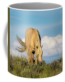 Coffee Mug featuring the photograph Palomino Wild Stallion In The Evening Light by Nadja Rider