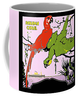 Panama Canal - Parrots On A Branch - Macaws - Retro Travel Poster - Vintage Poster Coffee Mug