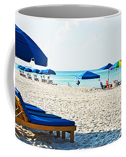 Panama City Beach Florida With Beach Chairs And Umbrellas Coffee Mug