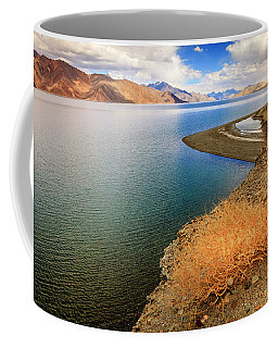 Coffee Mug featuring the photograph Pangong Tso Lake by Alexey Stiop