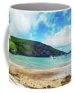 Coffee Mug featuring the photograph panorama of harbor  Port Isaac, Cornwall by Ariadna De Raadt