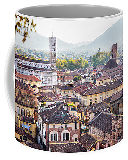 Coffee Mug featuring the photograph panorama of old town Lucca, Italy by Ariadna De Raadt