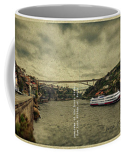 Coffee Mug featuring the digital art panorama of the Douro river, Dom Luiz Bridge of  Porto, Portugal by Ariadna De Raadt