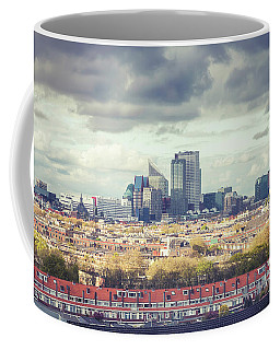 Coffee Mug featuring the photograph panorama of the Hague modern city by Ariadna De Raadt