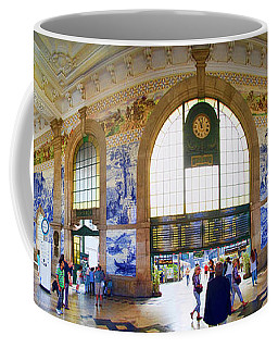 Panorama Of The Sao Bento Train Station In Oporto Portugal Coffee Mug