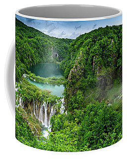 Panorama Of Turquoise Lakes And Waterfalls - A Dramatic View, Plitivice Lakes National Park Croatia Coffee Mug