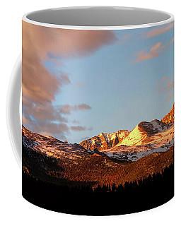 Panorama View Of Longs Peak At Sunrise Coffee Mug