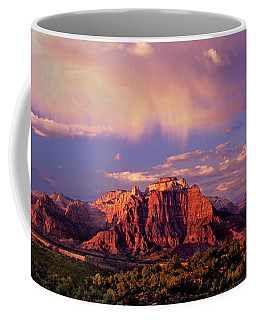 Coffee Mug featuring the photograph Panorama West Temple At Sunset Zion Natonal Park by Dave Welling