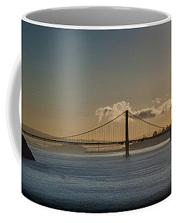Panoramic View Of Downtown San Francisco Behind The Golden Gate  Coffee Mug