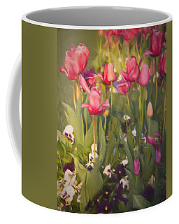 Coffee Mug featuring the photograph Pansies And Tulips by Lana Trussell