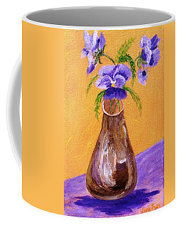 Pansies In Brown Vase Coffee Mug