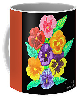 Pansies On Black Coffee Mug