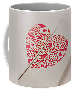 Paper Cut Heart Coffee Mug by Helen Northcott