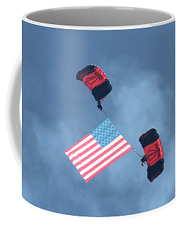 Parachuting With Our Us Flag Coffee Mug
