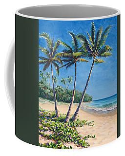 Tropical Paradise Landscape - Hawaii Beach And Palms Painting Coffee Mug