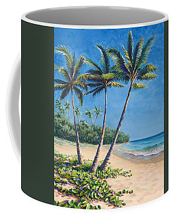 Coffee Mug featuring the painting Tropical Paradise Landscape - Hawaii Beach And Palms Painting by Karen Whitworth