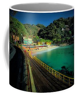Coffee Mug featuring the photograph Paraggi Bay Beach And Portofino Park by Enrico Pelos