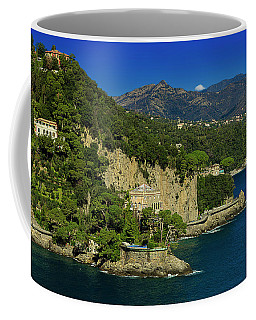 Coffee Mug featuring the photograph Paraggi Bay Castle And Liguria Mountains Portofino Park  by Enrico Pelos