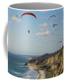 Paragliders At Torrey Pines Gliderport Over Black's Beach Coffee Mug