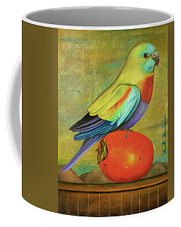 Parakeet On A Persimmon Coffee Mug