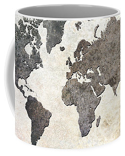 Coffee Mug featuring the digital art Parchment World Map by Douglas Pittman