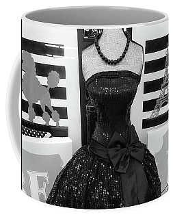 Coffee Mug featuring the photograph Paris Ballerina Costume Black And White French Decor - Parisian Ballet Art Black And White Art Deco by Kathy Fornal
