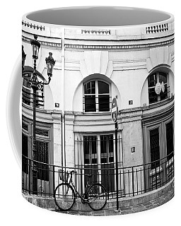 Coffee Mug featuring the photograph Paris Bicycle Street Lanterns Architecture Black And White Art Deco - Paris Black White Home Decor by Kathy Fornal