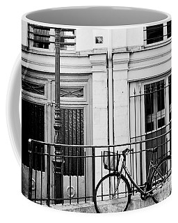 Coffee Mug featuring the photograph Paris Black And White Architecture Windows Street Lanterns Bicycle Print - Paris Street Lanterns by Kathy Fornal