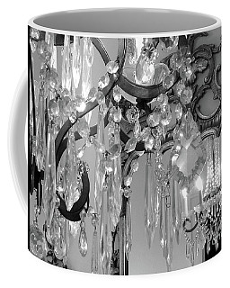 Coffee Mug featuring the photograph Paris Black And White Crystal Chandelier Mirrored Wall Decor -parisian Black White Chandelier Prints by Kathy Fornal