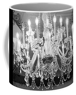 Paris Black And White Crystal Chandeliers - French Parisian Black White Crystal Chandelier Art Coffee Mug