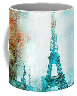 Paris Eiffel Tower Aqua Impressionistic Abstract Coffee Mug